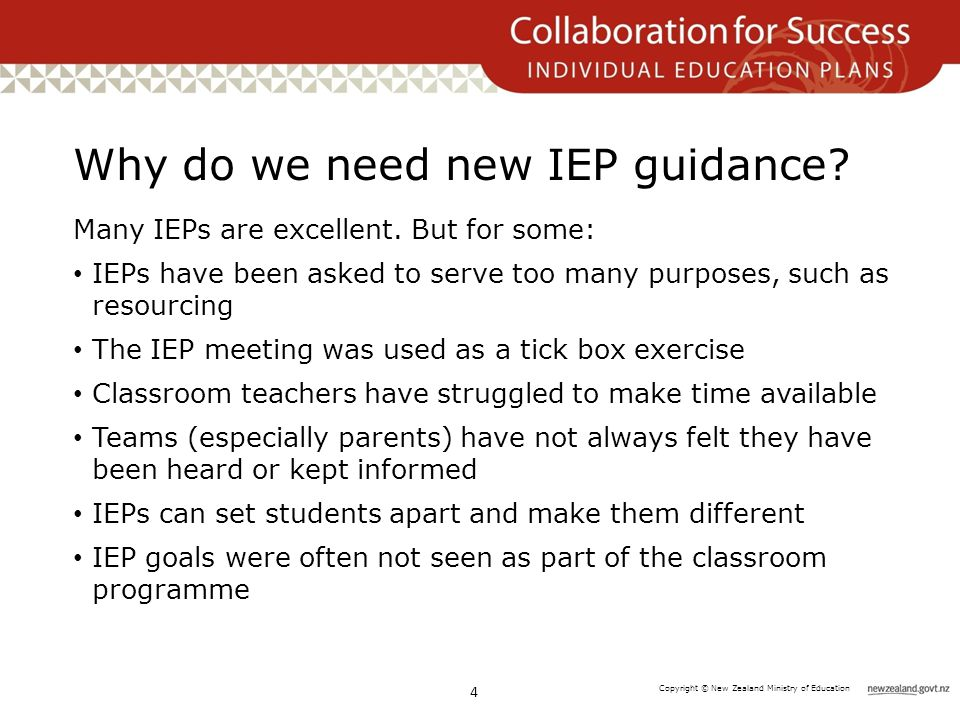 Copyright © New Zealand Ministry of Education Why do we need new IEP guidance.