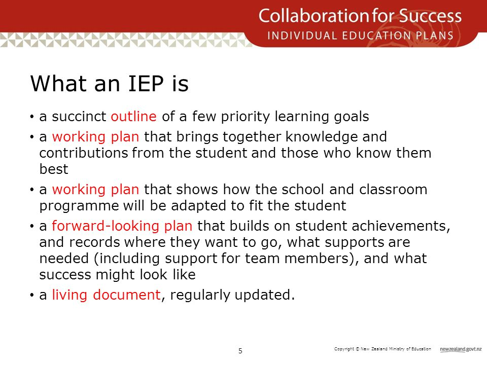 Copyright © New Zealand Ministry of Education What an IEP is a succinct outline of a few priority learning goals a working plan that brings together k