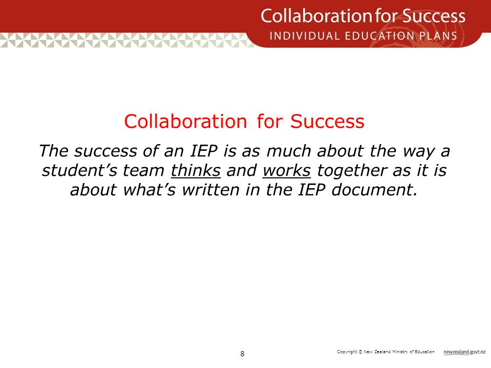 Copyright © New Zealand Ministry of Education Collaboration for Success The success of an IEP is as much about the way a student's team thinks and works together as it is about what's written in the IEP document.