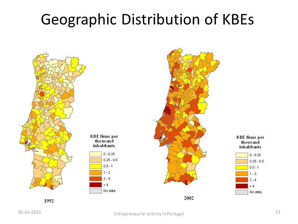 Geographic Distribution of KBEs 05-04-201513 Entrepreneurial activity in Portugal