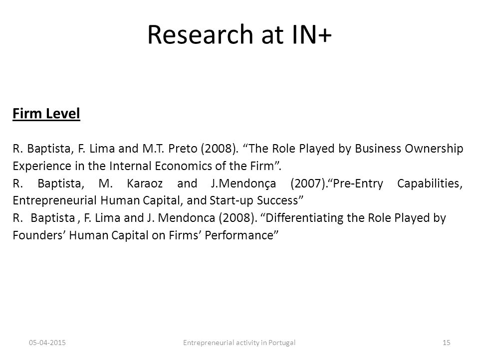 Research at IN+ Firm Level R. Baptista, F. Lima and M.T.