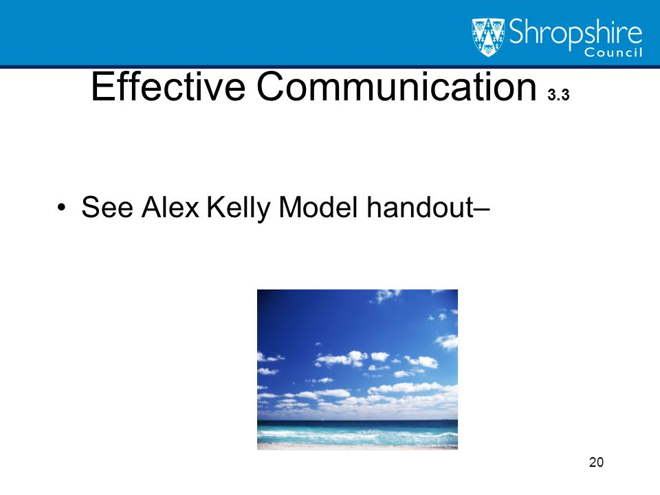 Effective Communication 3.3 See Alex Kelly Model handout– 20