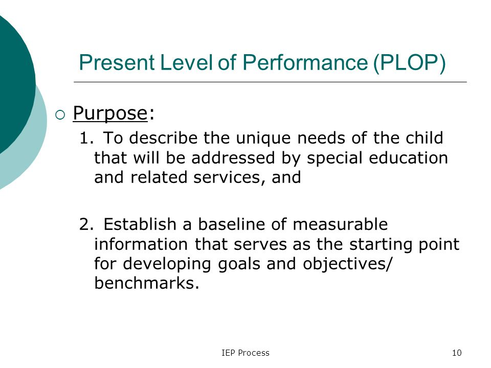 IEP Process10 Present Level of Performance (PLOP)  Purpose: 1.To describe the unique needs of the child that will be addressed by special education and related services, and 2.Establish a baseline of measurable information that serves as the starting point for developing goals and objectives/ benchmarks.
