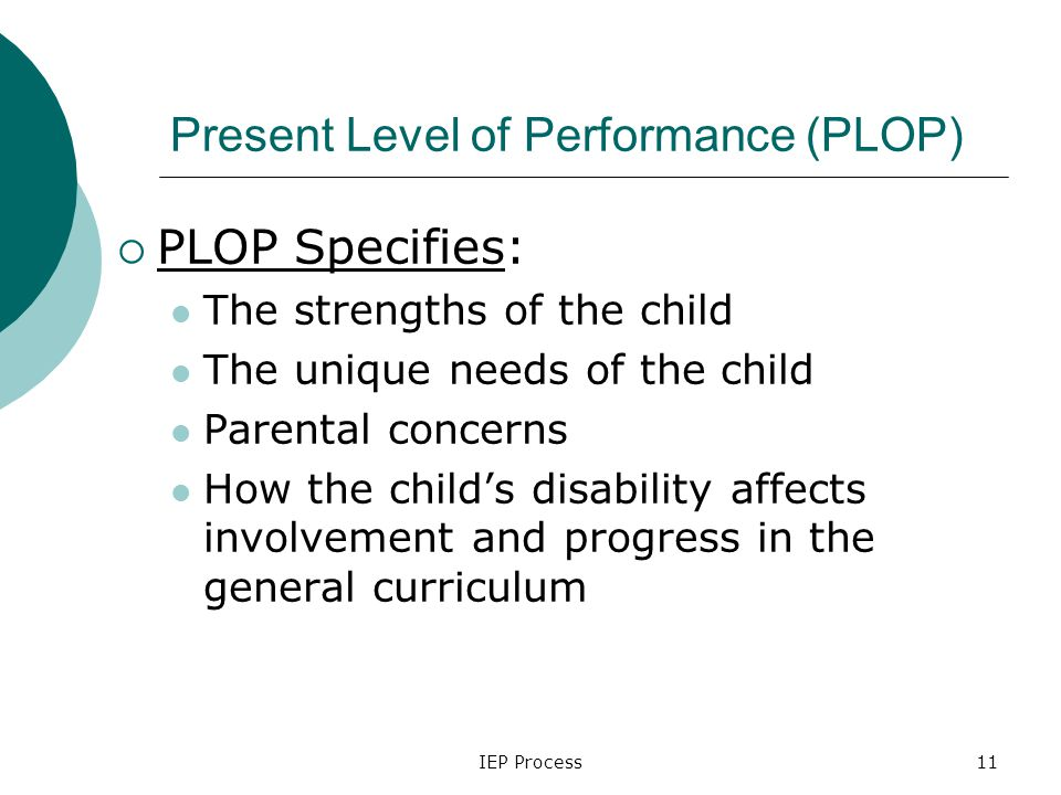 IEP Process11 Present Level of Performance (PLOP)  PLOP Specifies: The strengths of the child The unique needs of the child Parental concerns How the child's disability affects involvement and progress in the general curriculum