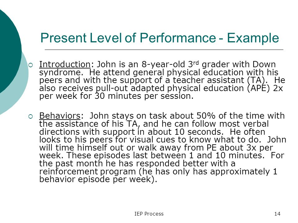 IEP Process14 Present Level of Performance - Example  Introduction: John is an 8-year-old 3 rd grader with Down syndrome.