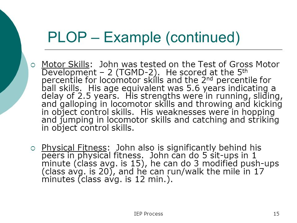 IEP Process15 PLOP – Example (continued)  Motor Skills: John was tested on the Test of Gross Motor Development – 2 (TGMD-2).