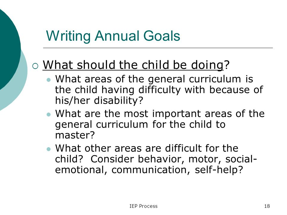 IEP Process18 Writing Annual Goals  What should the child be doing.