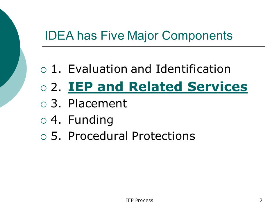 IEP Process2 IDEA has Five Major Components  1.Evaluation and Identification  2.
