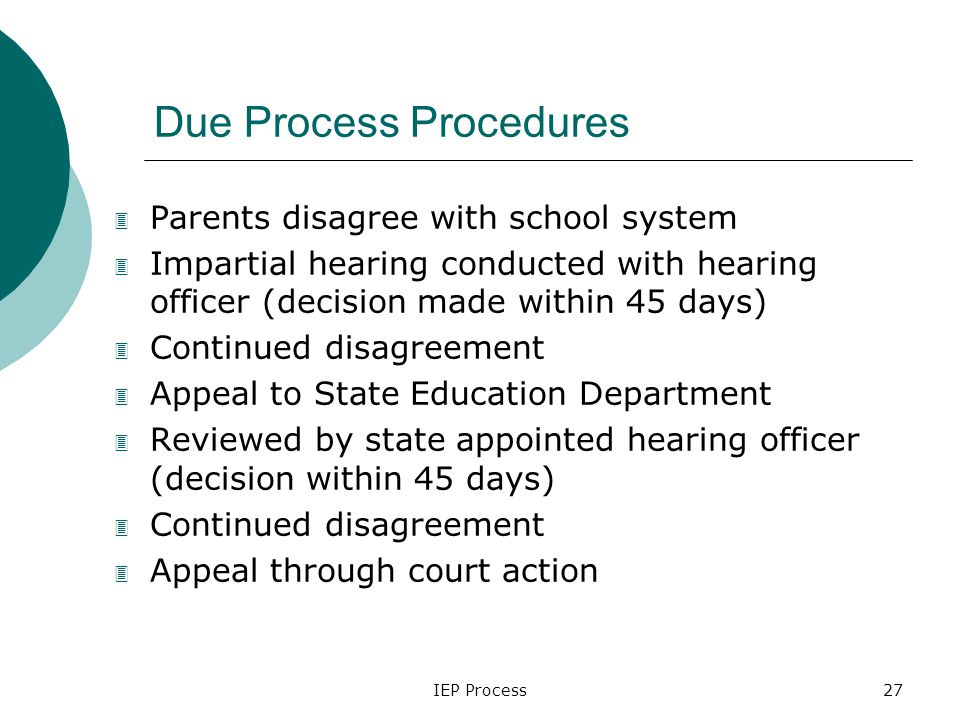 IEP Process27 Due Process Procedures 3 Parents disagree with school system 3 Impartial hearing conducted with hearing officer (decision made within 45 days) 3 Continued disagreement 3 Appeal to State Education Department 3 Reviewed by state appointed hearing officer (decision within 45 days) 3 Continued disagreement 3 Appeal through court action