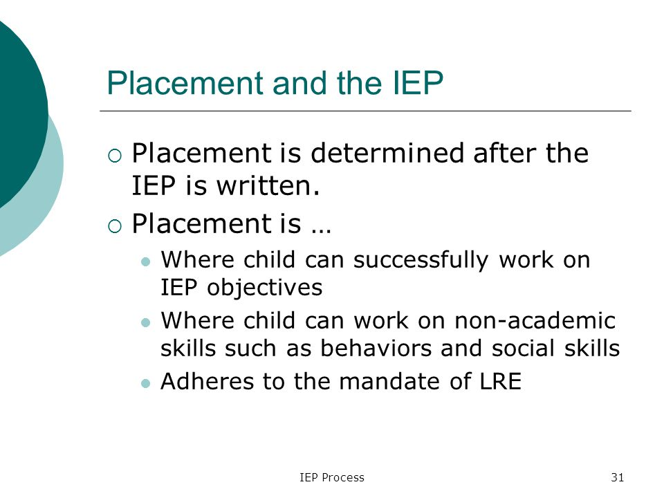 IEP Process31 Placement and the IEP  Placement is determined after the IEP is written.