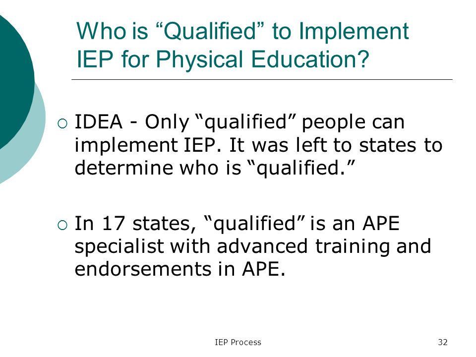 IEP Process32 Who is Qualified to Implement IEP for Physical Education.