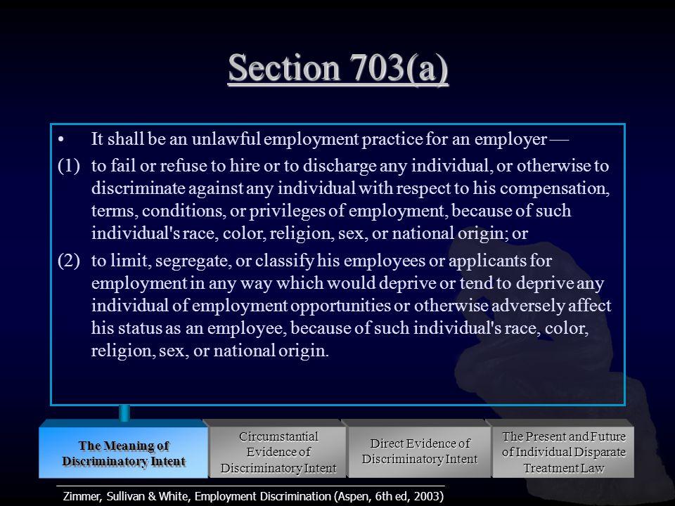 Zimmer, Sullivan & White, Employment Discrimination (Aspen, 6th ed, 2003) Animus Rational Discrimination Semi-Conscious Unconscious Workplace Structures Workplace Cultures