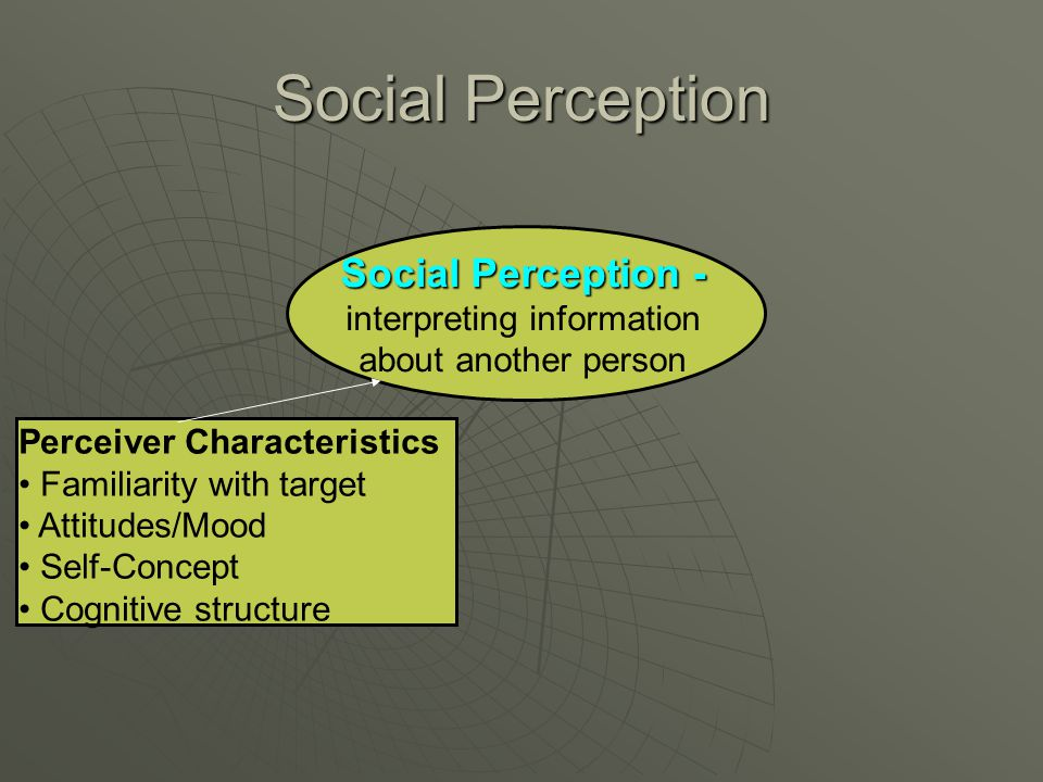 Social Perception Social Perception - interpreting information about another person Perceiver Characteristics Familiarity with target Attitudes/Mood S
