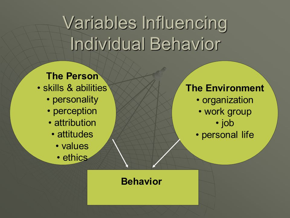The Environment organization work group job personal life Behavior Variables Influencing Individual Behavior The Person skills & abilities personality