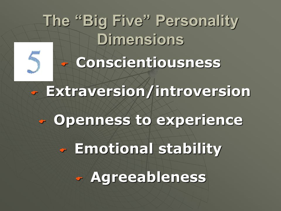 " Conscientiousness  Extraversion/introversion  Openness to experience  Emotional stability  Agreeableness The ""Big Five"" Personality Dimensions"