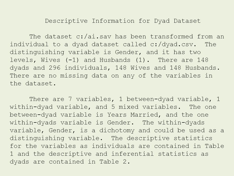 Descriptive Information for Dyad Dataset The dataset c:/ai.sav has been transformed from an individual to a dyad dataset called c:/dyad.csv. The disti