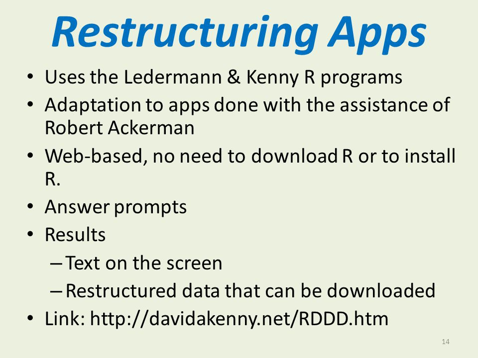 Restructuring Apps Uses the Ledermann & Kenny R programs Adaptation to apps done with the assistance of Robert Ackerman Web-based, no need to download