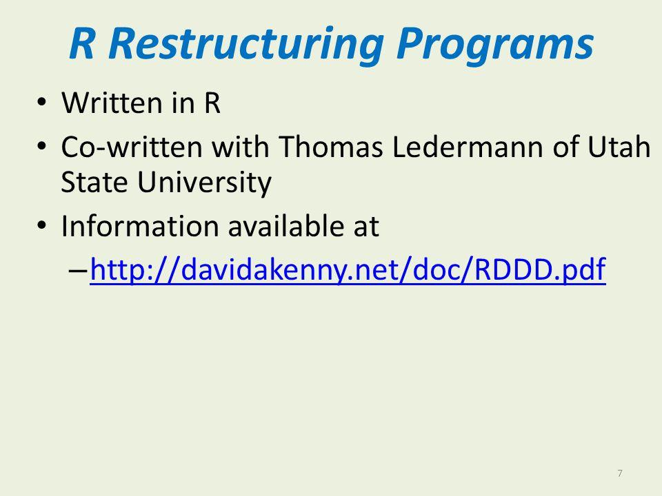 Details Installing R – davidakenny.net/doc/InstallR.pdf Three programs – ItoP.R: Individual to pairwise davidakenny.net/kkc/c1/ItoP.R – ItoD.R: Individual to dyad http://davidakenny.net/kkc/c1/ItoD.R – DtoP.R: Dyad to pairwise davidakenny.net/kkc/c1/DtoP.R 8