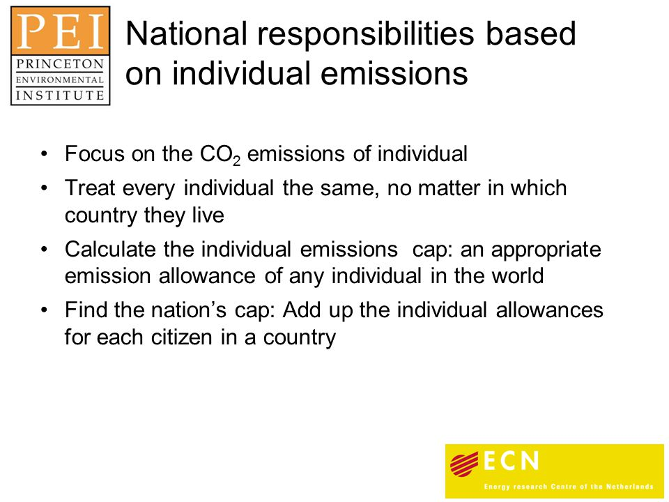 Focus on the CO 2 emissions of individual Treat every individual the same, no matter in which country they live Calculate the individual emissions cap