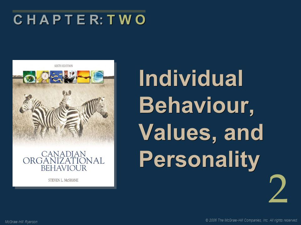 © 2006 The McGraw-Hill Companies, Inc. All rights reserved. McGraw-Hill Ryerson 2 C H A P T E R: T W O Individual Behaviour, Values, and Personality