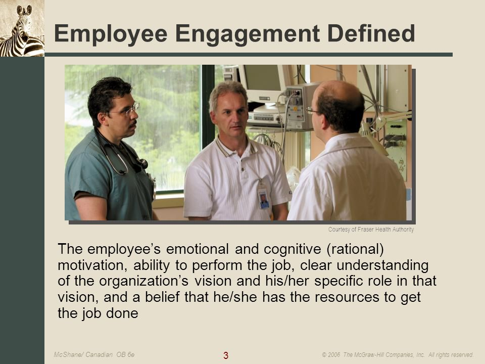 3 © 2006 The McGraw-Hill Companies, Inc. All rights reserved. McShane/ Canadian OB 6e Courtesy of Fraser Health Authority Employee Engagement Defined
