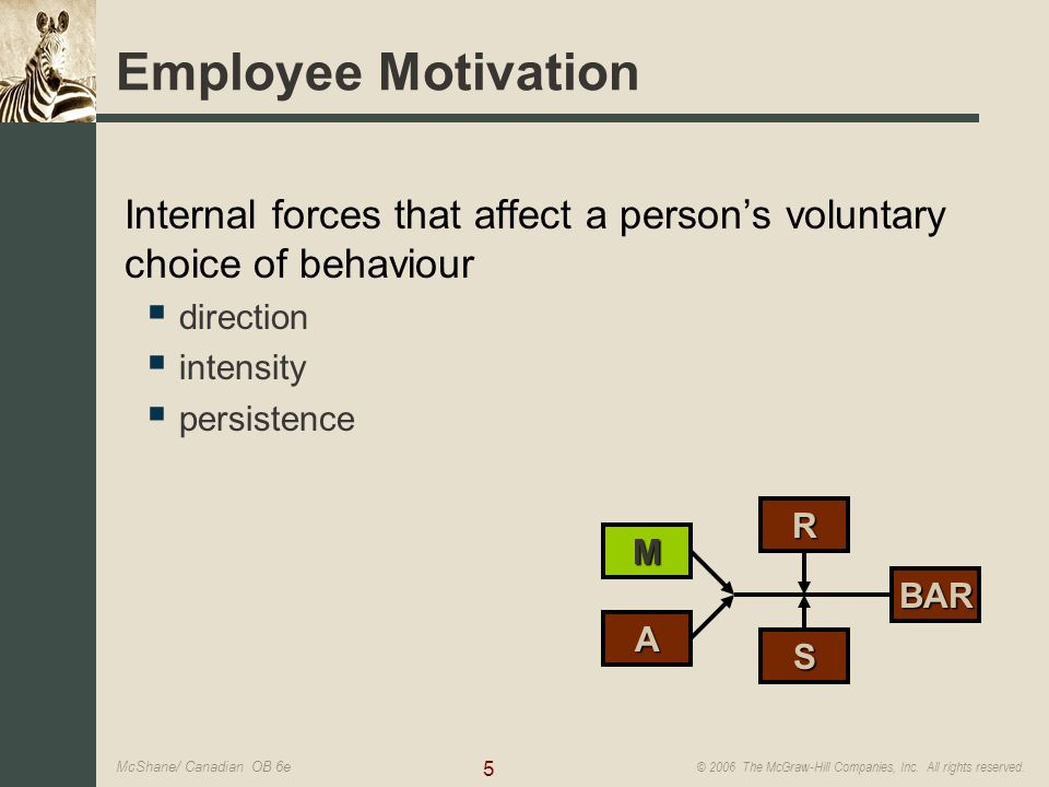 5 © 2006 The McGraw-Hill Companies, Inc. All rights reserved. McShane/ Canadian OB 6e M A R S BAR Employee Motivation Internal forces that affect a pe
