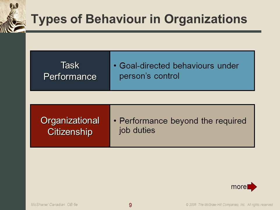 9 © 2006 The McGraw-Hill Companies, Inc. All rights reserved. McShane/ Canadian OB 6e Organizational Citizenship Performance beyond the required job d