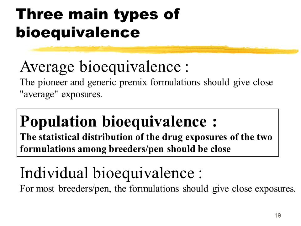 19 Three main types of bioequivalence Average bioequivalence : The pioneer and generic premix formulations should give close average exposures.
