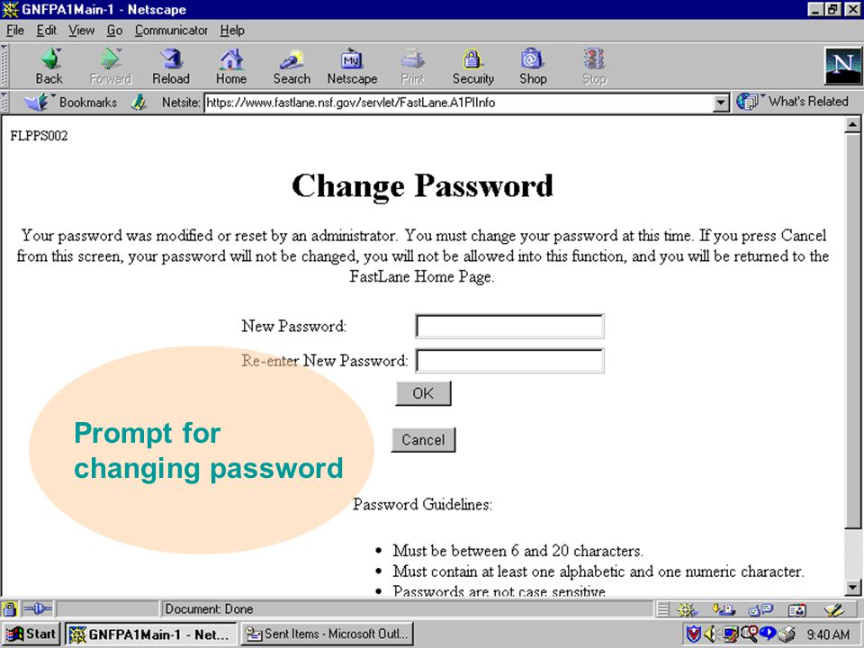 Prompt for changing password