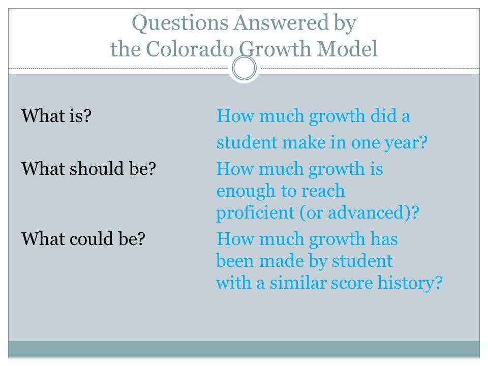 Questions Regarding the Colorado Growth Model?
