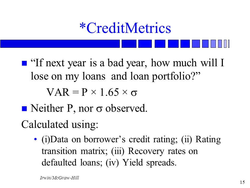"""Irwin/McGraw-Hill 15 *CreditMetrics n """"If next year is a bad year, how much will I lose on my loans and loan portfolio?"""" VAR = P × 1.65 ×  Neither P,"""
