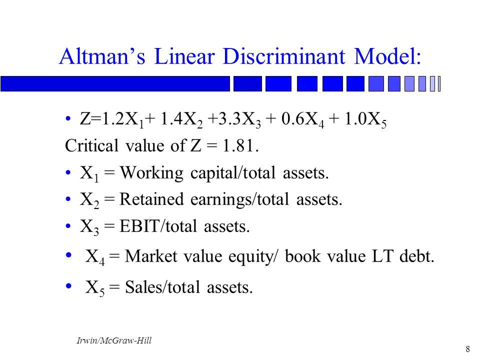 Irwin/McGraw-Hill 8 Altman's Linear Discriminant Model: Z=1.2X 1 + 1.4X 2 +3.3X 3 + 0.6X 4 + 1.0X 5 Critical value of Z = 1.81. X 1 = Working capital/