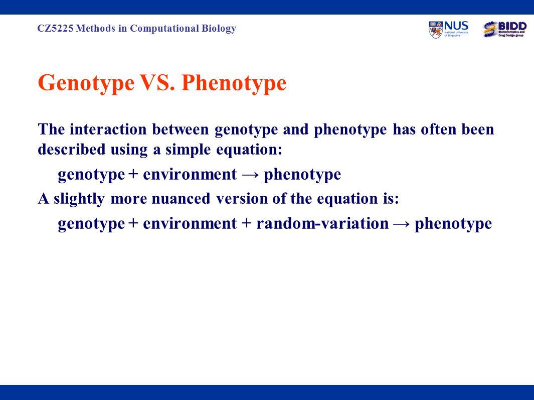 CZ5225 Methods in Computational Biology Genotype VS.
