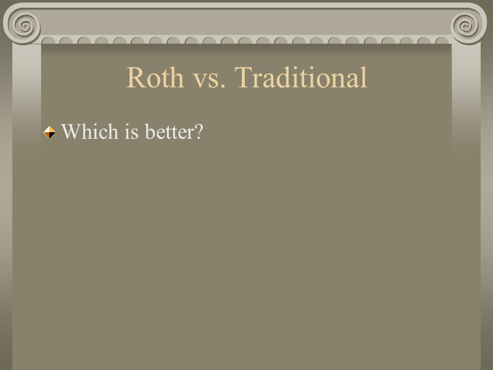 Roth vs. Traditional Which is better