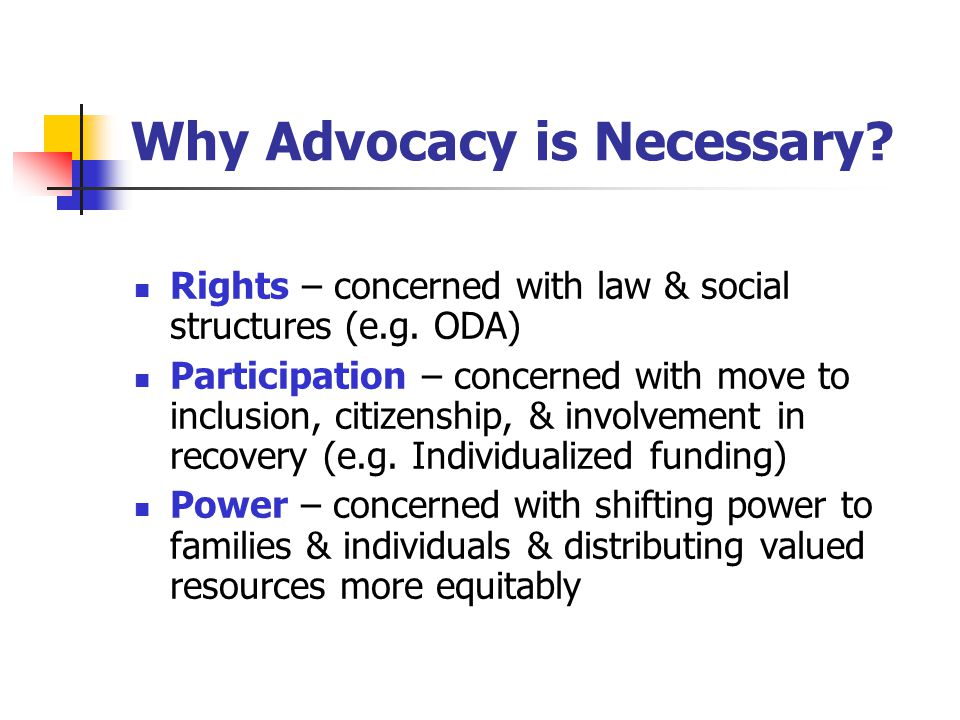 Why Advocacy is Necessary. Rights – concerned with law & social structures (e.g.