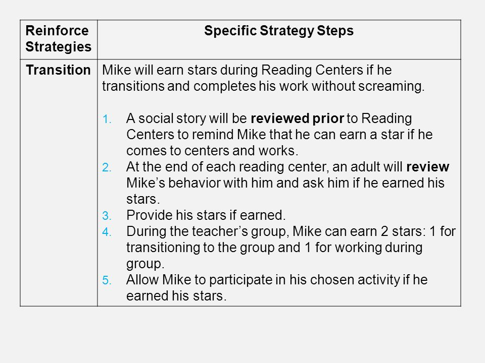 Reinforce Strategies Specific Strategy Steps TransitionMike will earn stars during Reading Centers if he transitions and completes his work without sc