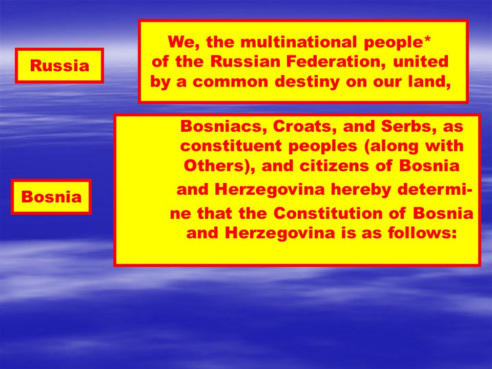Russia Bosnia Bosniacs, Croats, and Serbs, as constituent peoples (along with Others), and citizens of Bosnia and Herzegovina hereby determi- ne that the Constitution of Bosnia and Herzegovina is as follows: We, the multinational people* of the Russian Federation, united by a common destiny on our land,