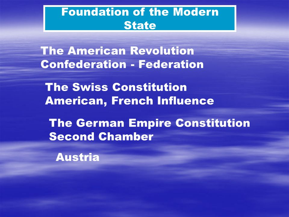 The American Revolution Confederation - Federation The Swiss Constitution American, French Influence Foundation of the Modern State The German Empire Constitution Second Chamber Austria