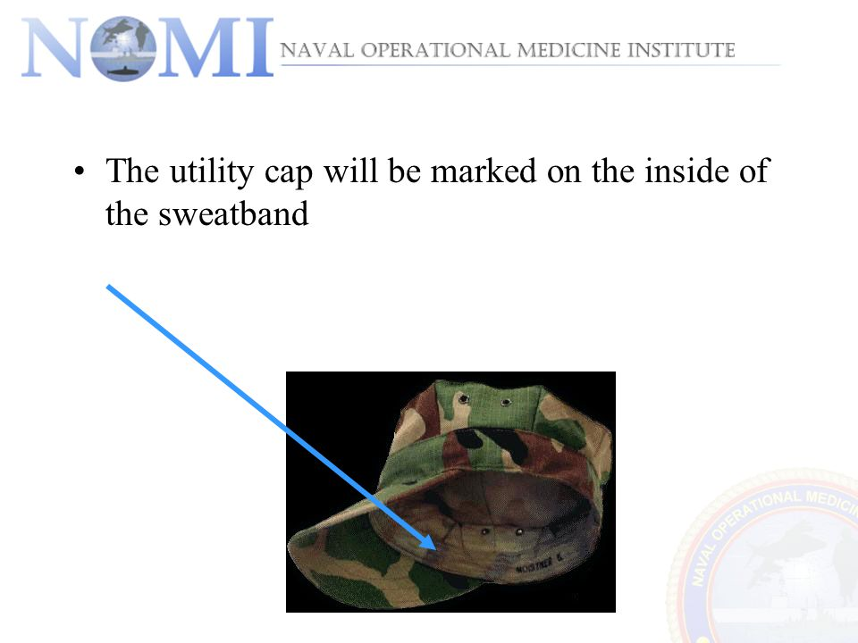 The utility cap will be marked on the inside of the sweatband