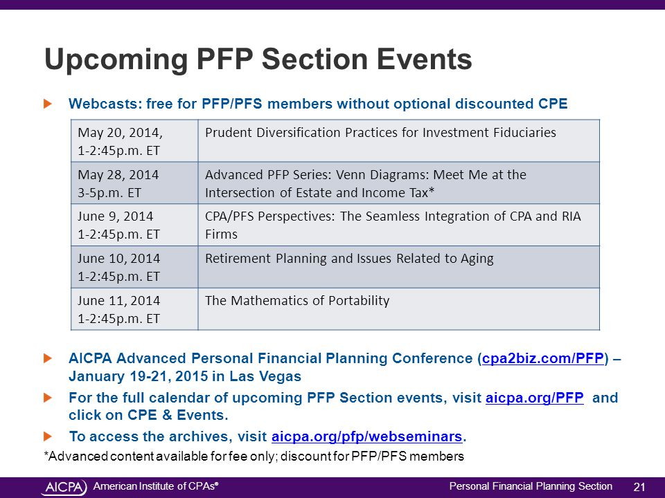 American Institute of CPAs ® Personal Financial Planning Section Upcoming PFP Section Events Webcasts: free for PFP/PFS members without optional disco