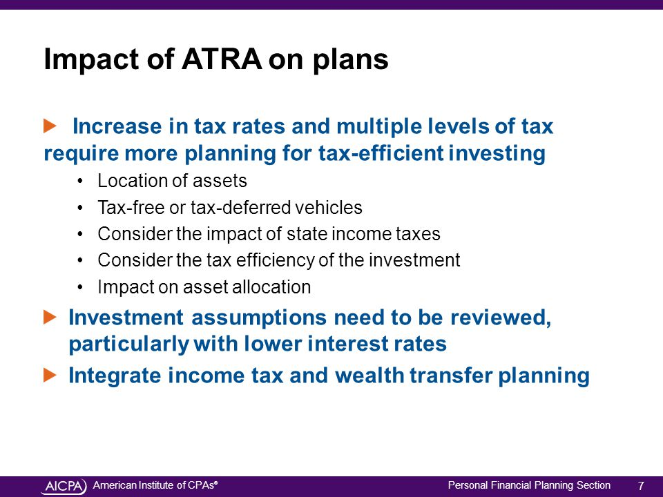 American Institute of CPAs ® Personal Financial Planning Section Impact of ATRA on plans Increase in tax rates and multiple levels of tax require more