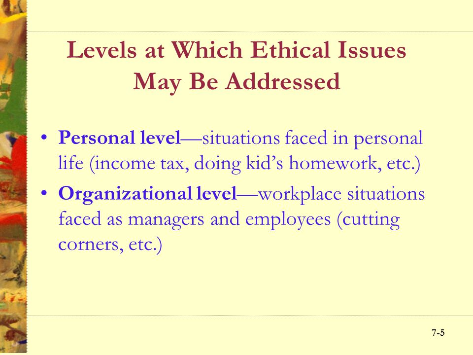 7-25 Managing Organizational Ethics Objects and evaluation systems overemphasizing profits Insensitivity toward how subordinates perceive pressure to meet goals Inadequate formal ethics policies Questionable Behaviors of Superiors or Peers