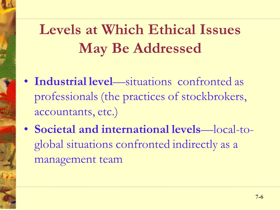 7-5 Levels at Which Ethical Issues May Be Addressed Personal level—situations faced in personal life (income tax, doing kid's homework, etc.) Organiza