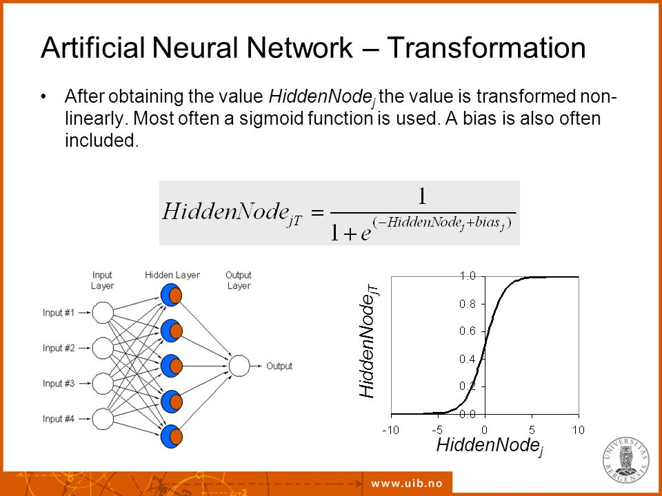 Artificial Neural Network – Transformation After obtaining the value HiddenNode j the value is transformed non- linearly.