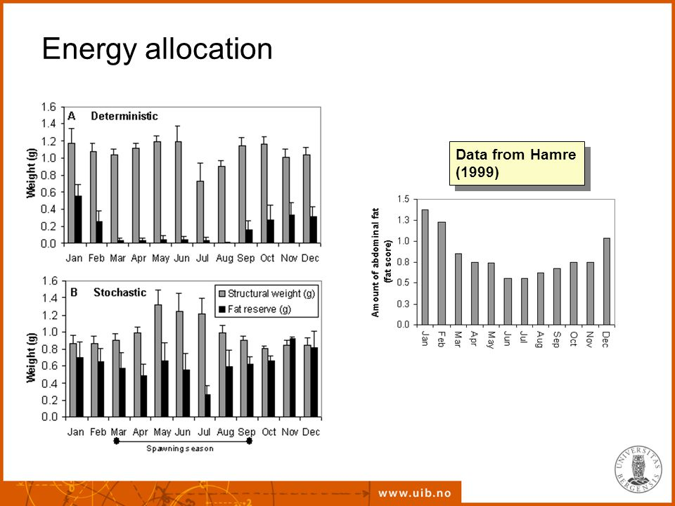 Energy allocation Data from Hamre (1999)