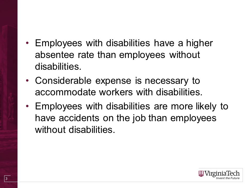 Employees with disabilities have a higher absentee rate than employees without disabilities.
