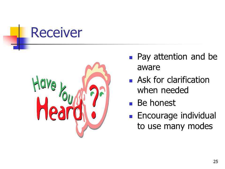 25 Receiver Pay attention and be aware Ask for clarification when needed Be honest Encourage individual to use many modes