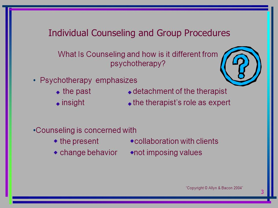 3 Individual Counseling and Group Procedures What Is Counseling and how is it different from psychotherapy.