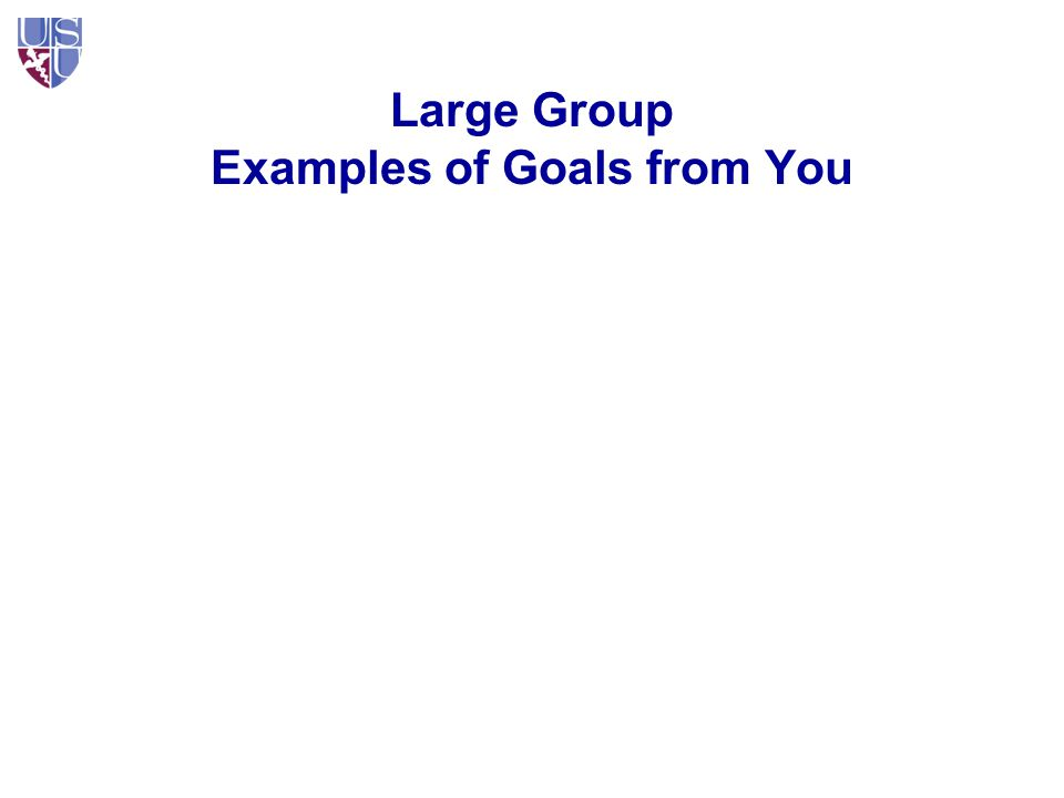 Large Group Examples of Goals from You