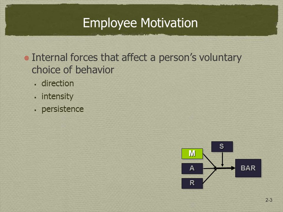 2-3 Employee Motivation Internal forces that affect a person's voluntary choice of behavior  direction  intensity  persistence RR BARBAR SS MM AA